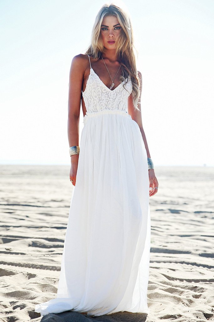 white maxi dress ... camilla open back crochet maxi dress - white [pre-order] - haute ... BLNAUBT